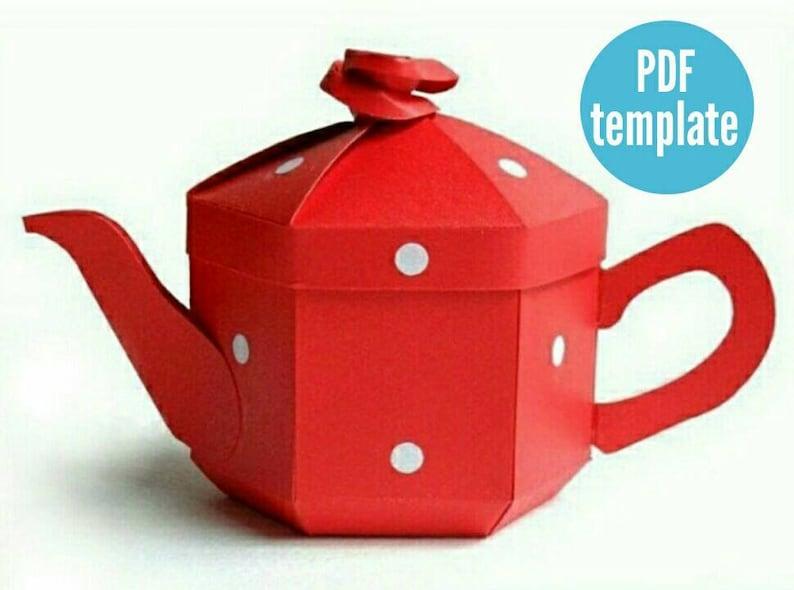 Teapot Favour Box. DIY Tea Party Gift Box. English Teapot Box. image 0