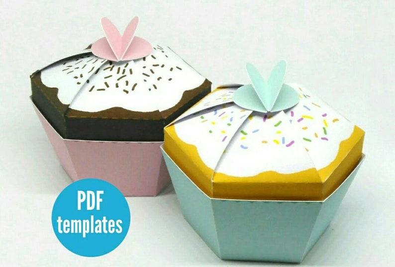 Cupcake Favour Box Template Paper Cupcake Box Diy Cupcake Etsy