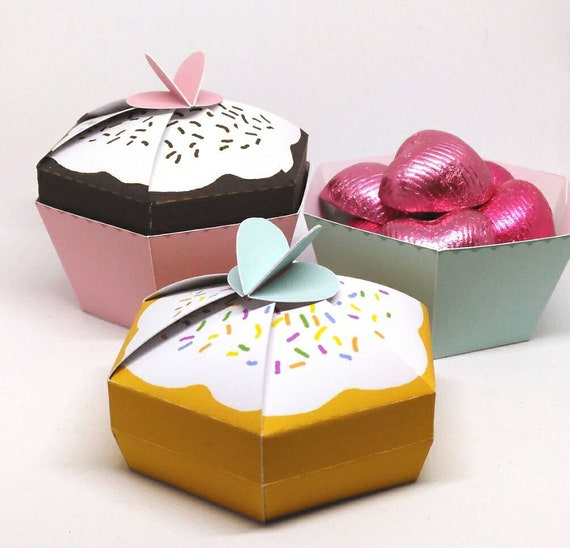 Cupcake Favour Box Template Paper DIY