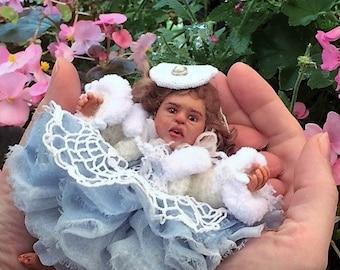 OOAK miniature doll polymer clay , OOAK Art Doll, realistic,mini babies,doll, doll handsculpt, mini reborn doll, polimer clay doll