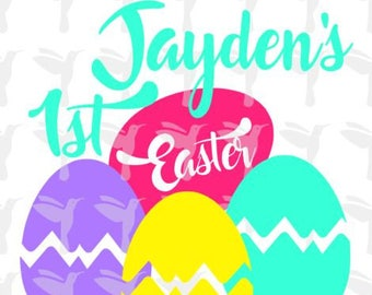 Baby's 1st Easter, 1st Easter, SVG PNG, Cricut Cut File, Silhouette File, Easter Eggs, Easter Basket, First Easter, 1st Easter, Easter Shirt
