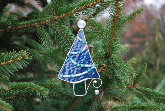 image 0 - Fun Stained Glass Christmas Tree Ornament Blue Whimsical Etsy
