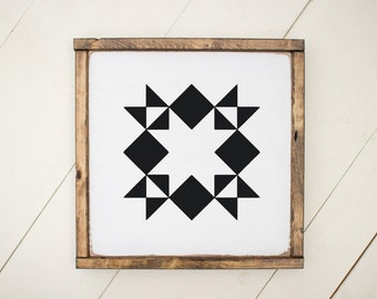 Quilt block, wood sign, white and black wood sign