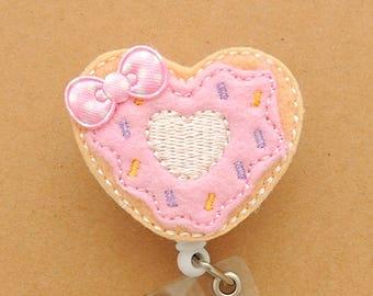 Donut Retractable Badge - Donut Retractable Badge Holder - Cross ID Holder -  Retractable Badge Clip - Nursing badge holder - ID holder
