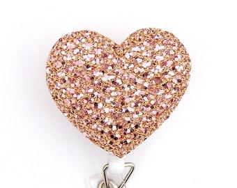 RN badge reel - Rose Gold Heart Badge Reel - Valentines day - Heart badge reel - Rose gold heart retractable Badge Reel - Id badge holder
