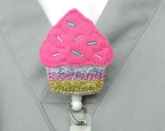 Cupcake Badge Reel - Nurse Badge Reel - ID Badge Holder - Glitter Badge Reel - Pink Cupcake Badge Reel  - Retractable Badge Holder