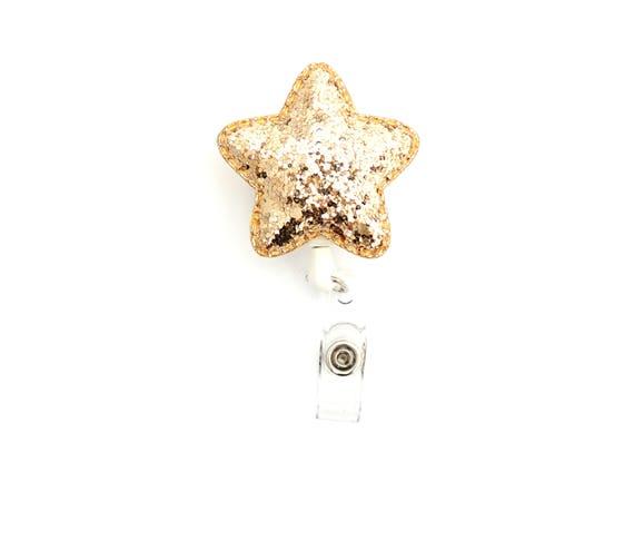 Glitter Badge Glitter Star Retractable Badge Glitter Retractable Badge Glitter Badge Reel Gifts For Nurse Gifts For Teacher