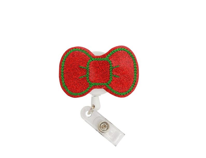 Christmas glitter Badge Reel RN Badge Reel - Nurse Badge Reel Bow Badge Reel