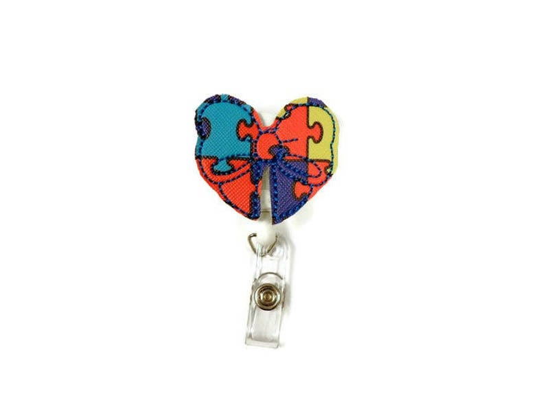 LPN Bow badge reel Autism puzzle Badge Nurse/'s Badge Reel Autism awareness badge reel Gifts Under 20 Gifts for a RN Autism