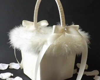 Flower Girl Petal Basket - Satin with Feather Trim Small - Medium - Large
