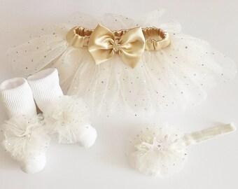 Tutu Sparkly Set,Barefoot Sandals,Princess Crown Head Dress, 3 Piece Set, Preemie,Newborn,1st Birthday, Wedding,Christening,Photo Shoot,