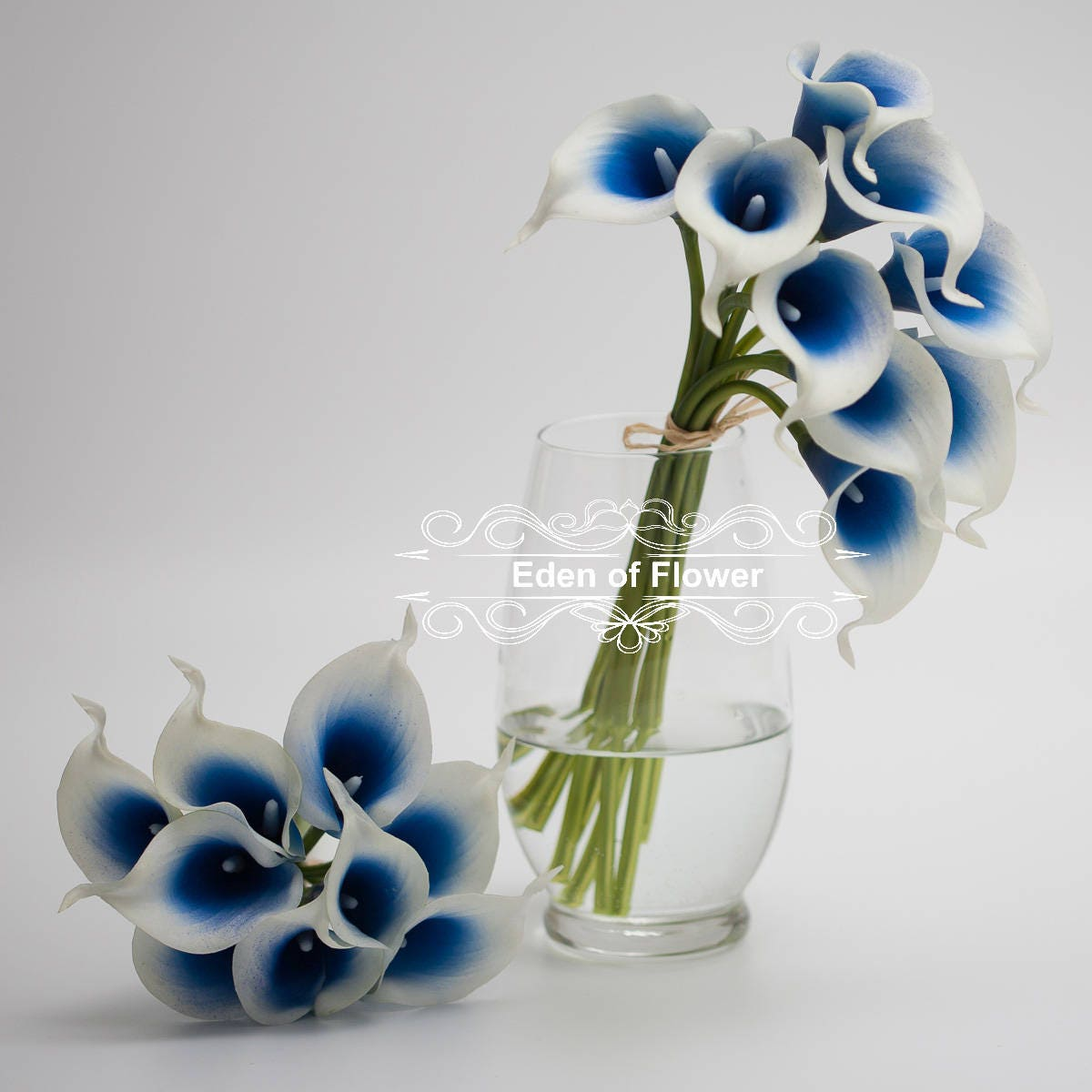 Picasso Royal Blue Calla Lilies real touch flowers for Bridal ...