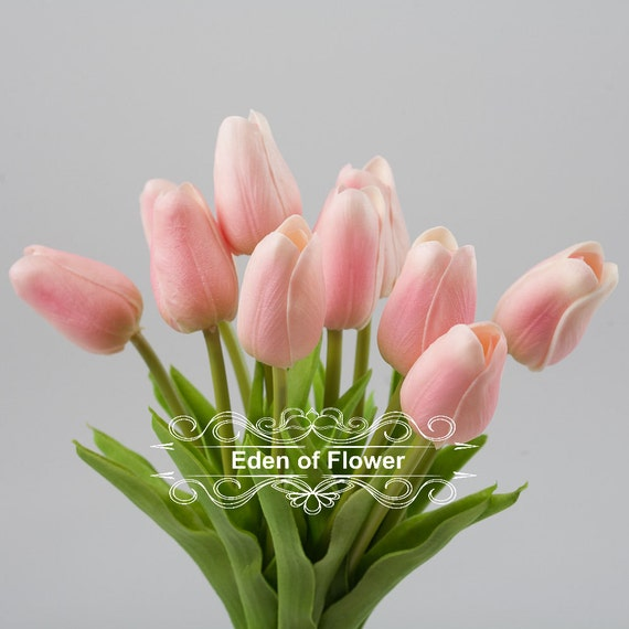 Pink Tulip Real Touch Flowers For Bridal Bouquets Centerpieces Etsy