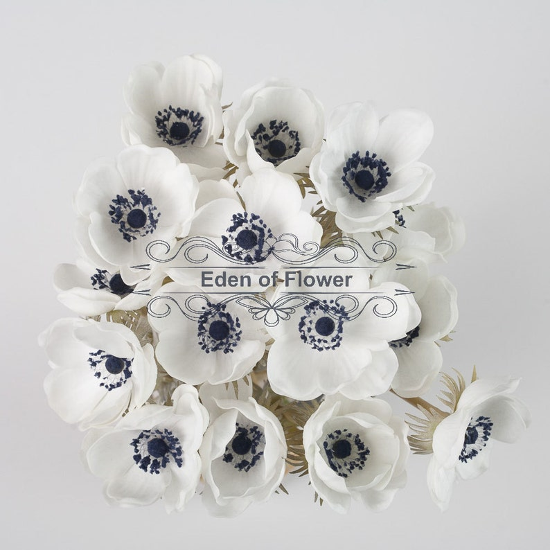 White Anemones Real Touch Flowers Dark Blue Center For Wedding Etsy