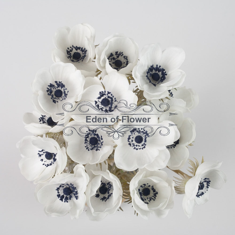 White Anemones Real Touch Flowers Dark Blue Center for Wedding ...
