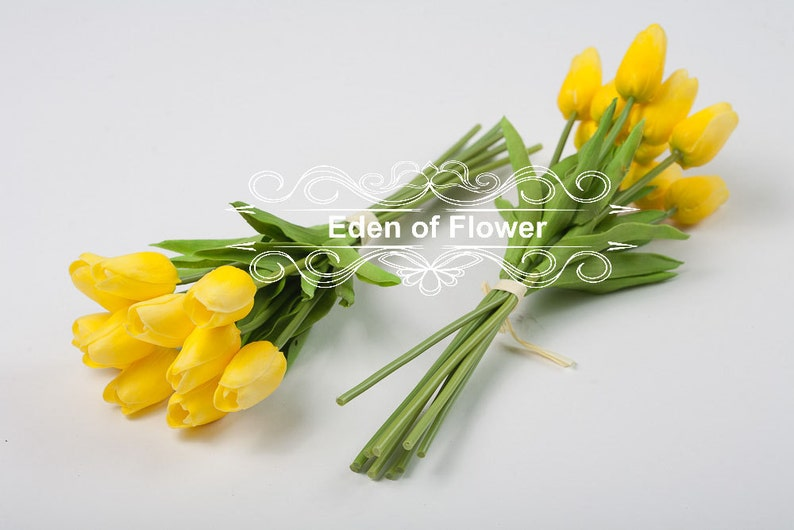 Real Touch Yellow Tulip Bouquets for Bridal Bouquets Wedding Centerpieces  Vase Arrangement Home Decoration