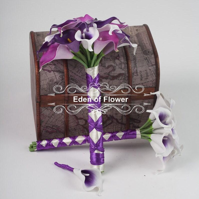 Real Touch PU Calla Lilies for Purple Wedding Bridal Bouquet Home Decoration Centerpieces dark purple light purple picasso