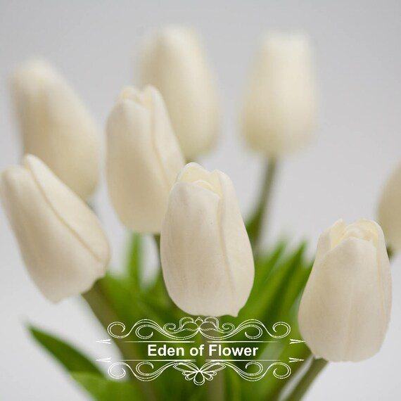 10 Pcs White Tulip Real Touch Flower For Wedding Bouquets Etsy