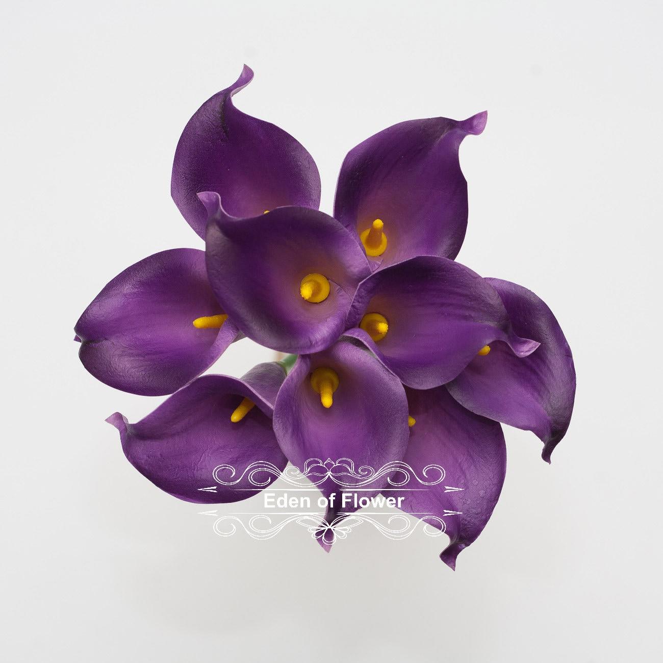 9 Pcs Real Touch Purple Calla Lily Bouquet For Bridal Bouquet Etsy