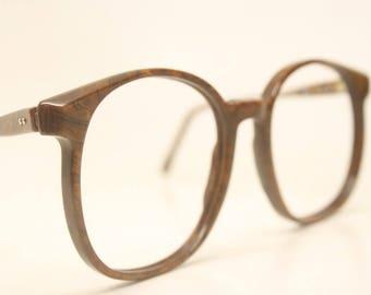 ace0225774 Vintage Pathway Op-Art Eyeglasses Unused Brown Woodgrain New Old stock  Vintage Eyewear 1980s Vintage Glasses Unique