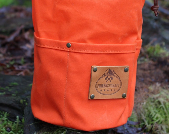 Orange Waxed Canvas Round Bottomed Ditty Bag with Pockets and Toggle for Cook Set, Bushcraft, Camping and the Great Outdoors  PNW Bushcraft