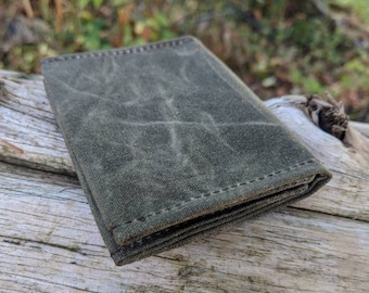 Green Waxed Canvas Wallet for your Cash, ID, Credit Cards, Hunting or Fishing License by PNW Bushcraft
