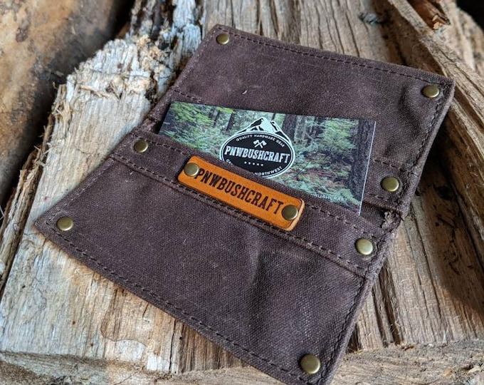 Minimalist Warm Brown Waxed Canvas Wallet for your ID, Credit Cards, Business Cards, Hunting or Fishing License