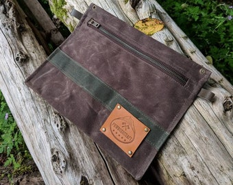 Dark Oak Handmade  Waxed Canvas Pouch with Zipper for Supplies, Camping, Grooming and the Great Outdoors by PNW Bushcraft