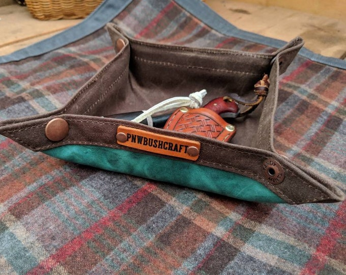 Waxed Canvas and Leather Collapsible Valet Tray for you Keys, Pipe, Watch, Adventures, Bushcraft and Everyday Travel