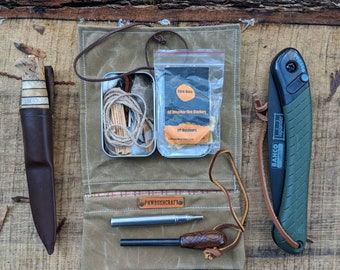 Waxed Canvas Roll Up Pouch with Plaid Lining for your Pocket Stove,Compass, Pipe, Your Adventures, Outdoors and Everyday Living