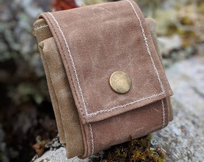 Tan Waxed Canvas Foraging Pouch, Sack, Bag, Perfect for when you need an Extra Pocket FREE U.S. SHIPPING
