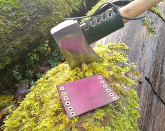 Leather Handmade Small Forest Axe Collar In Plum by PNWBushcraft