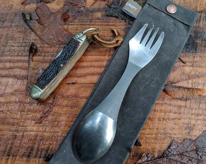 Handmade Waxed Canvas Spork Bag for Bushcraft, Camping and the Great Outdoors in Chocolate Blue
