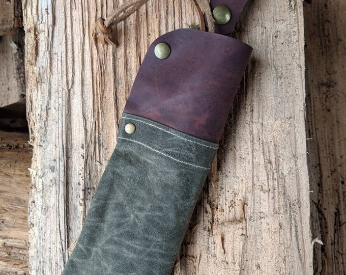 Handmade  Leather and Canvas Sheath Pouch with Belt Loop for your Bahco Laplander by PNW Bushcraft
