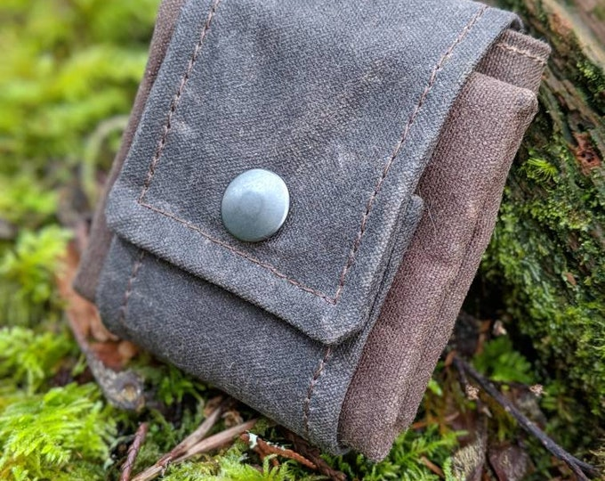 Two Tone Waxed Canvas Foraging Pouch, Bag, Perfect for when you need an Extra Pocket FREE U.S. SHIPPING