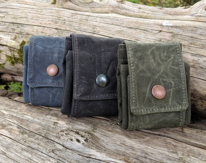 Green Waxed Canvas Foraging Pouch, Bag, Perfect for when you need an Extra Pocket FREE U.S. SHIPPING