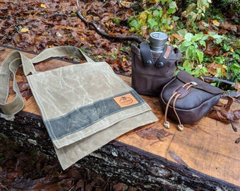 Gorgeous Waxed Canvas Bag with Cross Body Strap, Perfect for the City but made for your Adventures by PNW Bushcraft