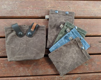 Custom Order for Matt Set of 5 Handmade Waxed Canvas Ditty Bags with Snaps for Bushcraft, Camping and the Great Outdoors