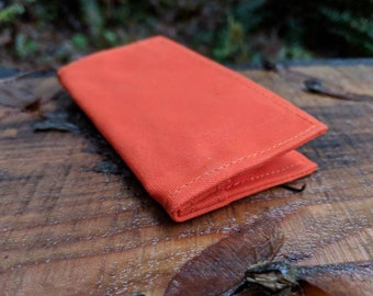 Minimalist Hunter Orange Waxed Canvas Wallet for your ID, Credit Cards, Hunting or Fishing License
