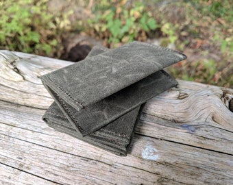 Minimalist Green Waxed Canvas Wallet for your ID, Credit Cards, Hunting or Fishing License
