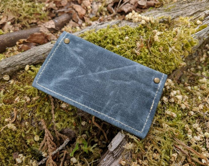 Minimalist Blue Waxed Canvas Wallet for your ID, Credit Cards, Business Cards, Hunting or Fishing License