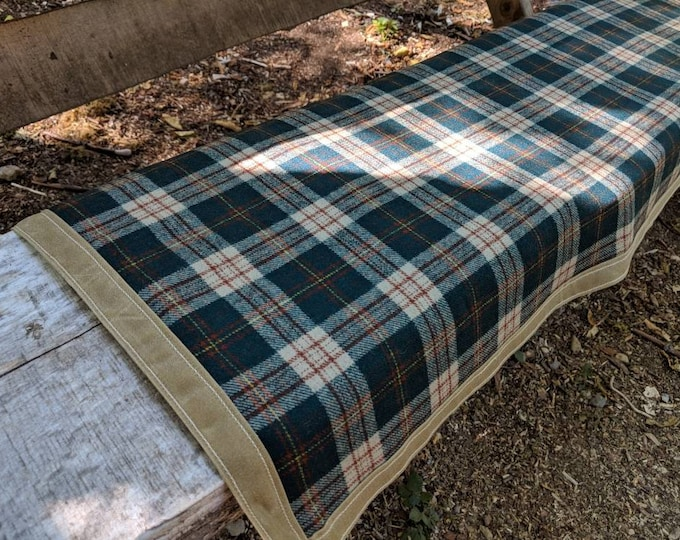 Vintage Wool Lined Waxed Canvas Ground Cloth for Your Bench,  Bushcraft, Outdoor Gear, Camping and Sitting