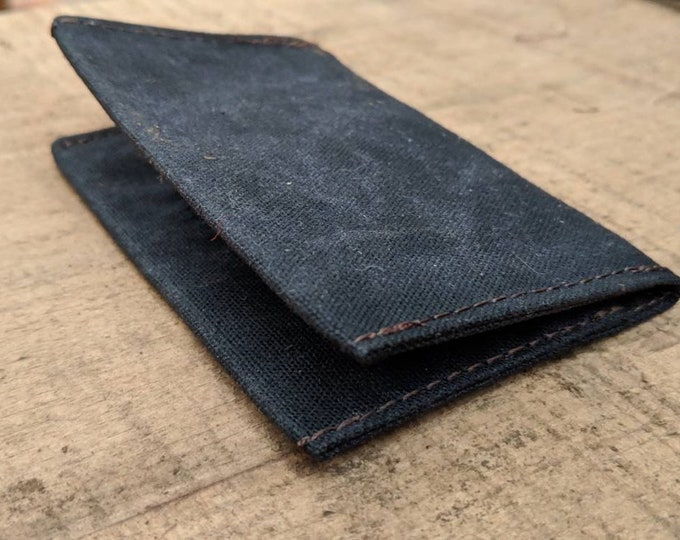 Minimalist Black Waxed Canvas Wallet for your ID, Credit Cards, Hunting or Fishing License
