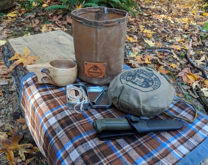 Handmade Waxed Canvas Round Bottomed Ditty Bag with Latigo Leather Lace for Cook Set, Bushcraft, Camping and the Great Outdoors.
