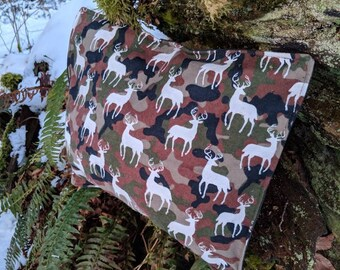 Handmade Waxed Canvas and Super Soft Flannel Pillow Bag for Bushcraft, Camping, Grooming and the Great Outdoors.