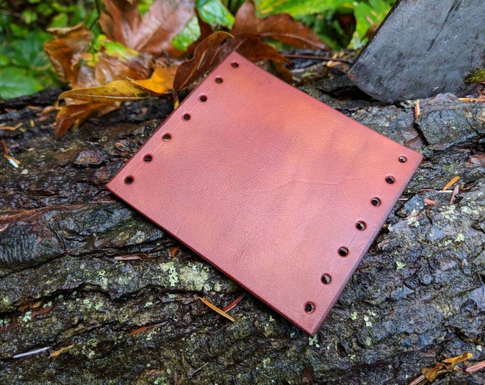 Leather Handmade Small Forest Axe Collar In Tan by PNWBushcraft