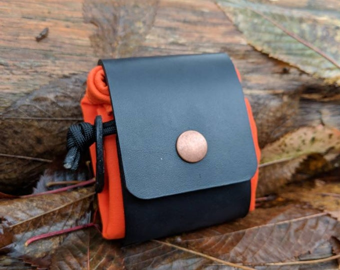 Handmade Black Leather and Canvas Bushcraft Foraging Pouch, Gathering Bag, Dump Sack, Extra Pocket FREE US Shipping