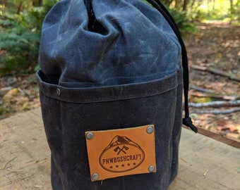 Waxed Canvas Round Bottomed Ditty Bag with Pockets and a  Leather Tag for Cook Set, Bushcraft, Camping and the Great Outdoors  PNW Bushcraft