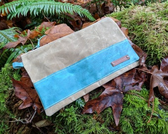 Handmade  Waxed Canvas and Leather Pouch with Zipper for Supplies, Camping, Grooming and the Great Outdoors by PNW Bushcraft