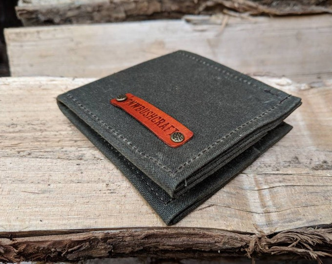 Green Waxed Canvas Wallet for your Cash, ID, Credit Cards, Hunting or Fishing License